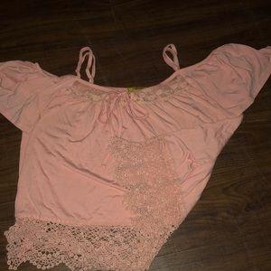Pink blouse w/ shoulder cut outs